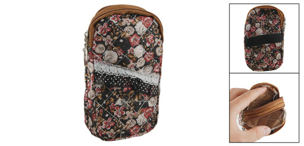 Lace Decor Red Beige Flower Print 2 Pockets Zipper Cell Phone Wrist Bag Pouch