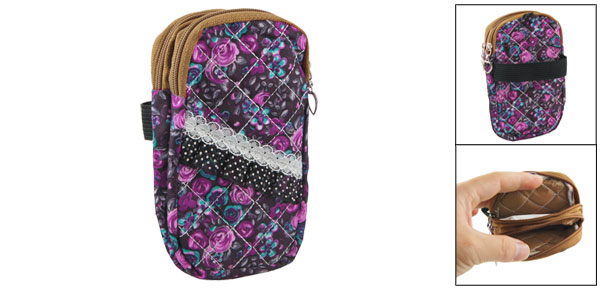Lace Decor Fuchsia Floral Print 2 Pockets Zip up Cell Phone Wrist Bag Pouch