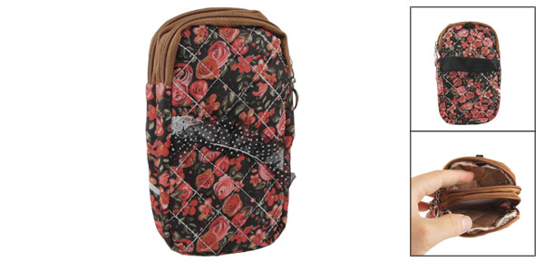 Red Flower Print Black Lace 2 Pockets Zip up Cell Phone Wrist Bag Pouch