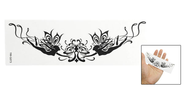 Skin Decorative Black Tadpole Pattern Tribal Transfer Tattoos Sticker Sheet