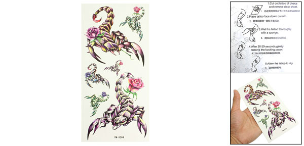 Purple Yellow Scorpion Pattern Transfer Tattoos Seal Skin Beauty Decal Sheet