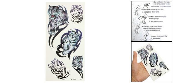 Blue Purple Tiger Pattern Temporary Water Transfer Tattoos Sticker Beauty Tool