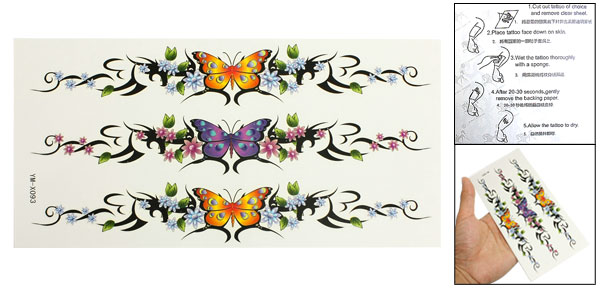 Purple Orange Butterfly Pattern Transfer Tattoos Seal Skin Beauty Decal Sheet