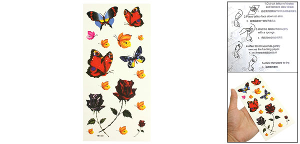 Yellow Red Butterfly Pattern Temporary Transfer Tattoos Sticker Beauty Tool