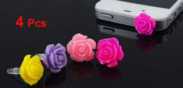 4 Pcs Colorful Floral Accent Anti Dust 3.5mm Earphone for Cell Phone