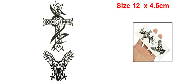 Black Crucifix Pattern Tribal Transferable Water Tattoos Seal Skin Beauty Decal