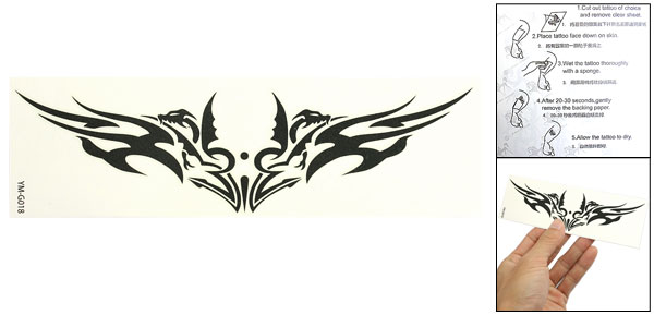 Skin Decorative Black Swallow Pattern Tribal Transfer Tattoos Sticker Sheet