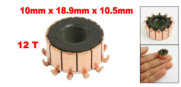 10mm x 18.9mm x 10.5mm 12 Tooth Copper Shell Electric Motor Commutator