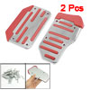 2 Pcs Silver Tone Red Nonslip Car Automatic Gas Brake Pedal Cover