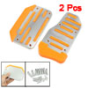 2 Pcs Silver Tone Orange Nonslip Car Automatic Gas Brake Pedal Co...