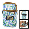Green Leaf Blue Floral Print 2 Pockets Zip up Cell Phone Wrist Ba...