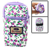Green Leaf Purple Floral Print 2 Pockets Pull Zipper Cell Phone Wrist Bag