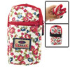 Multi Red Flowers Print 2 Pockets Zip up Cell Phone Wrist Bag Pouch
