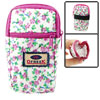 Green Leaf Pink Floral Print 2 Pockets Zip up Cell Phone Wrist Bag Pouch
