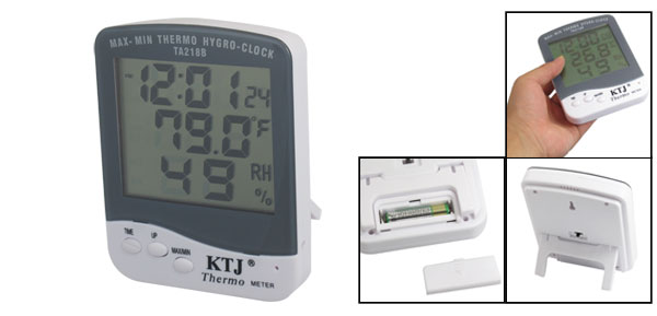 Gray White Case LCD Digital Clock Temperature Humidity Meter TA218B