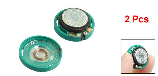 2 Pcs 21mm Dia External Magnetic Round Green Plastic Shell Speaker 8 Ohm 0.25W