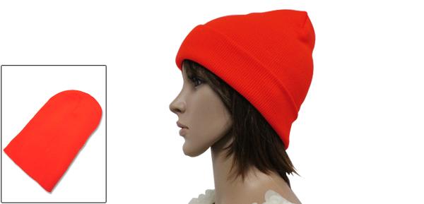 Unisex Fluorescent Orange Korea Fashion Slouchy Knit Beanie