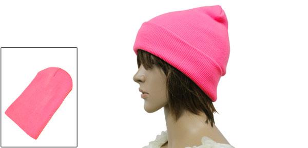 Unisex Fluorescent Pink Korea New Fashion Slouchy Headwear