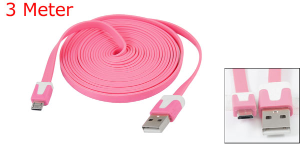 Pink 3 Meter USB Type A to Micro 5 Pin USB Data Cable for HTC