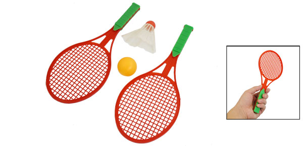 Red Plastic Shaft Green Handle Badminton Shuttlecock Pingpong Sport Equipment Set