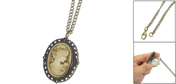 Bronze Tone Portrait Pattern Pendant Necklace Watch for Ladies