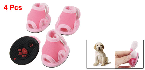 Size 3 Nonslip Sole Doggy Sandals Shoes Pink Fuchsia 4 Pcs