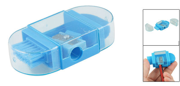 Clear Plastic Case Multifunctional Blue Pencil Sharpener for Students