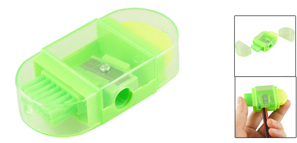 Light Green Plastic Multifunction Brush Eraser Design Pencil Sharpener