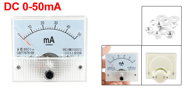 Class 2.5 Accuracy DC 0-50mA Clear Face Analog Panel Meter Ammeter