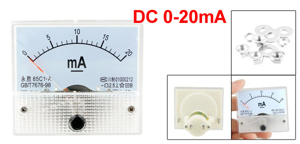 0-20mA DC Current Analog Panel Meter Ammeter Amperemeter grey white