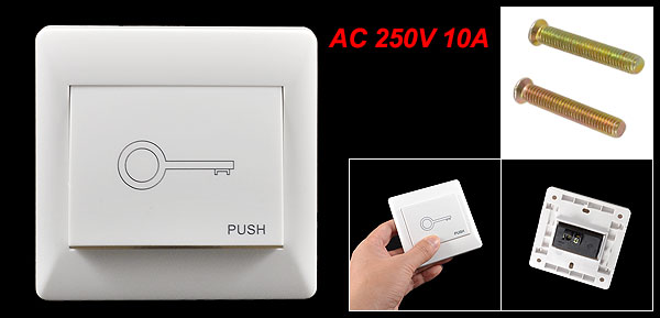 White Luminous Strip AC 250V Wall Mount Doorbell Switch Wall Plate