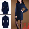 Women Dark Blue Peaked Lapel Single Breasted Autumn Warm Trench C...