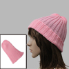 Men Women Pink Ski Style Ribbed Simple Design Knit Beanie Hat Cap