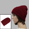 Men Women Ribbing Detail Elastic Casual Beanie Hat Burgundy