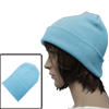 Mens Women Baby Blue Simple Style Solid Color Ribbing Detail Elas...