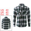 Mens Green White Black Long Sleeves Slim Fit Casual Shirt M