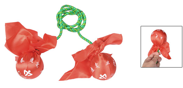 Double Red Polyester Fabric Wrapped Foam Balls Rubber Cord Exercise Fitness Ball