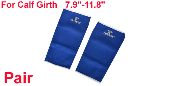 Pair Sports Protecting Ribbed Blue Elastic Shin Splint Calf Support Sleeve