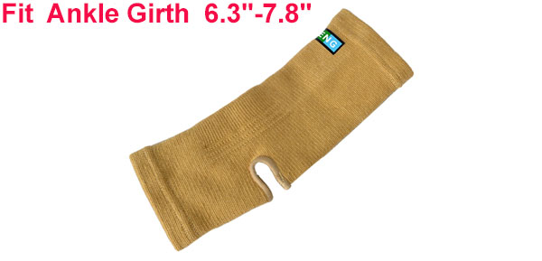 Light Brown Knitted Ribbed Open Heel Elastic Ankle Support Sleeve Shield