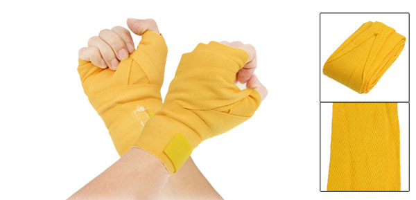 2.5M Detachable Fastener Yellow Cotton Boxing Sports Wrist Hand Wrap Bandage