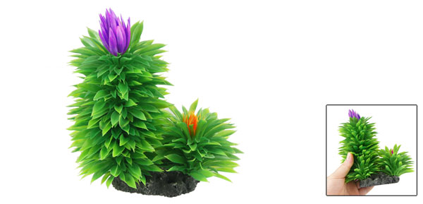 Aquarium Fish Tank Green Purple Underwater Plastic Plant Grass Ornament 6.5