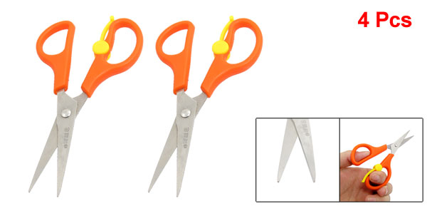 4 Pcs Office Stationery Orange Yellow Plastic Non-slip Handle Long Blade Scissors