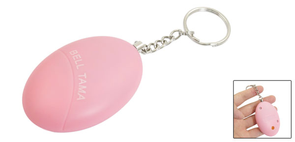 Pink Mini Rugby Football Shaped Plastic Personal Safety Alarm Bell w Keychain