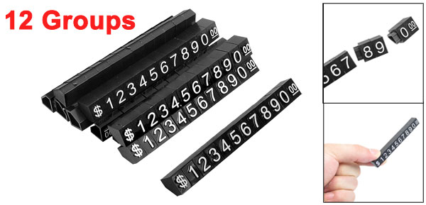 12 Groups Arabic Numerals Combined Word Retail Store Plastic Price Tags
