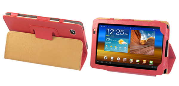 Red Fuax Leather Magnetic Closure Case Pouch for Sumsung Galaxy Tab P1000