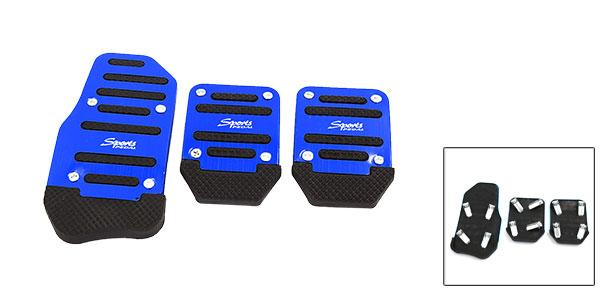 3 Pcs Black Blue Plastic Metal Nonslip Pedal Cover Set for Car