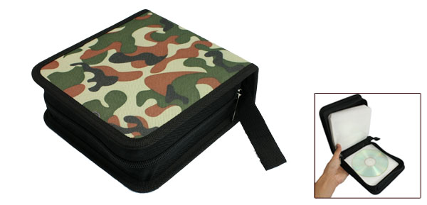 Camouflage Color Faux Leather 40 Pieces Capacity DVD CD Storage Case Holder