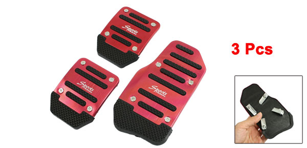 3 Pcs Black Red Metal Plastic Nonslip Pedal Cover Set for Car