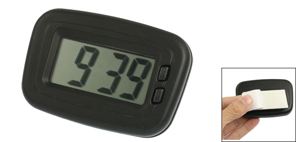 Car Black Plastic Case 2 Button LCD Display Digital Clock w Adhesive Base