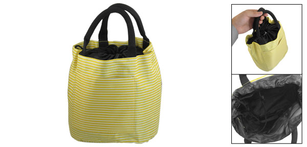 Ladies Yellow White Stripes Print Drawstring Design Handbag Tote Bag